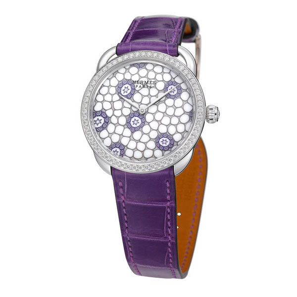 purple leather strap copy Hermes Arceau Millefiori