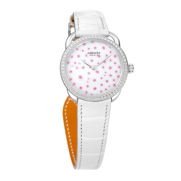 white leather strap copy Hermes Arceau Millefiori