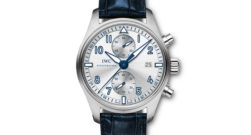 blue second hand copy IWC PILOT SPITFIRE CHRONOGRAPH FOR BFI