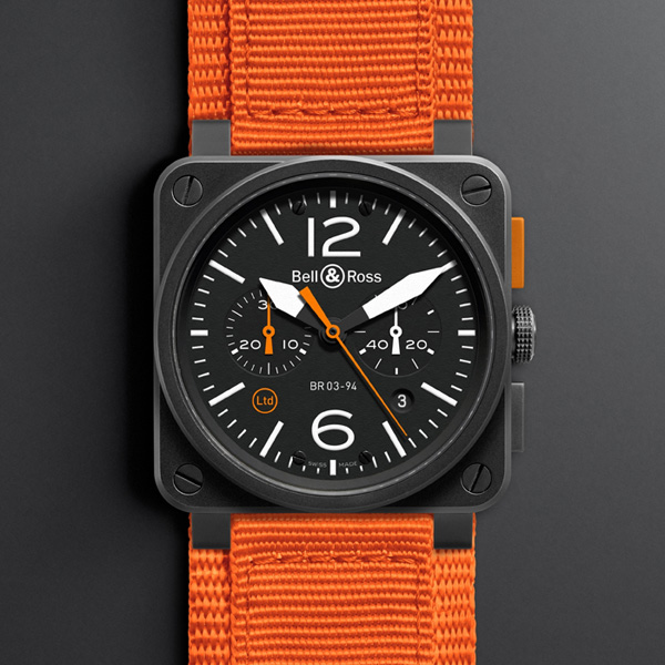 white scale copy Bell & Ross BR 03-94 Carbon Orange