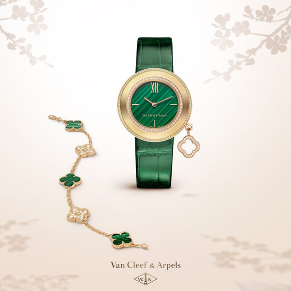 diamond bezel copy Van Cleef & Arpels Charms Malachite