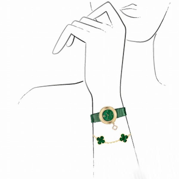 green dial replica Van Cleef & Arpels Charms Malachite