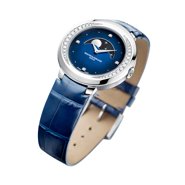 blue leather strap copy Baume & Mercier Clifton