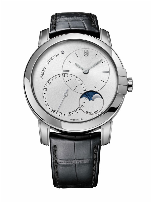white gold case copy Harry Winston Midnight Moon Phase 42mm