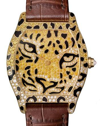 The brown leather straps fake Cartier watches are made from 18k gold.