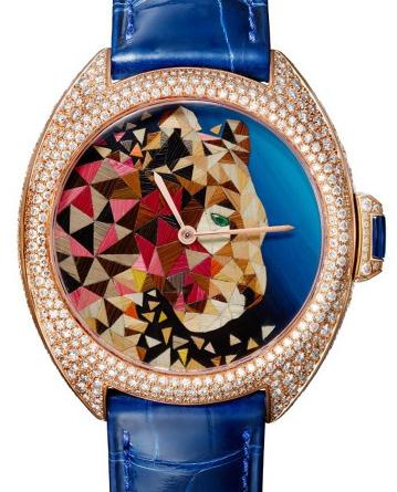 The blue leather straps copy Cartier watches are made from 18k rose gold.