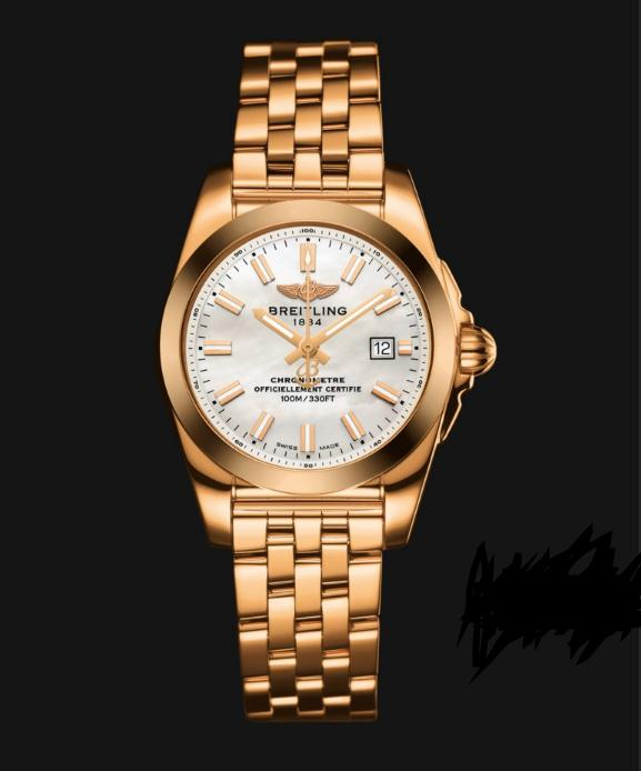The rose gold fake watches have white mother-of-pearl dials.