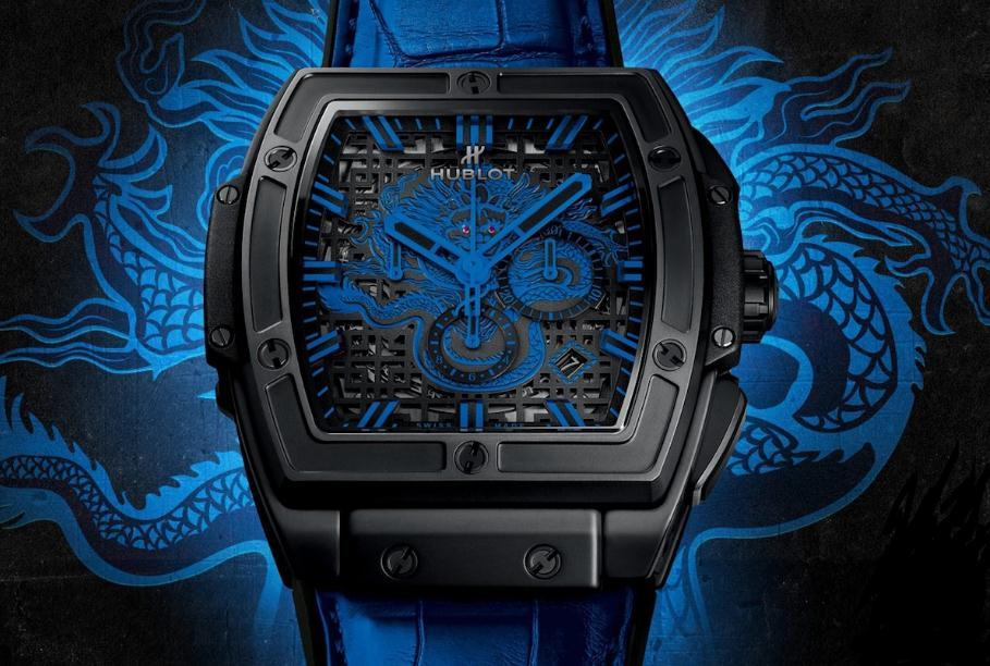 The blue leather straps fake watches have skeleton dials.