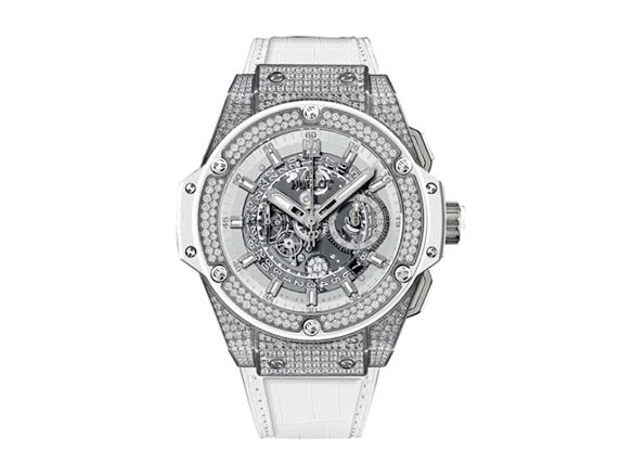 The white leather straps fake watches are decorated with diamonds.
