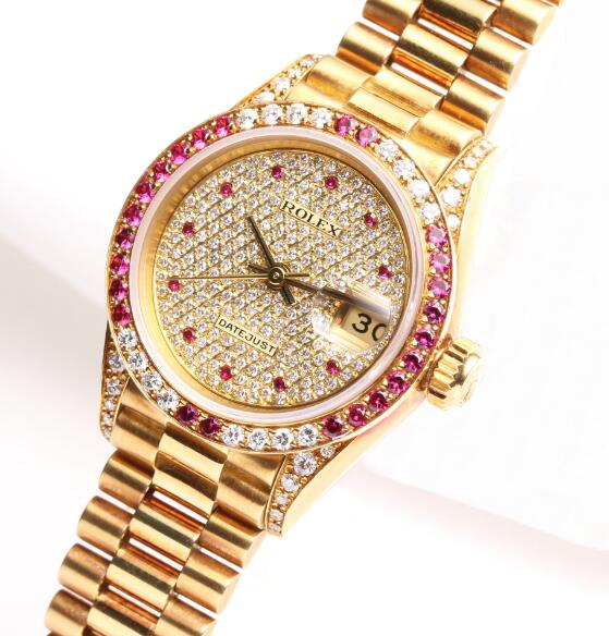 Forever imitation watches provide the coordination of rubies and diamonds.