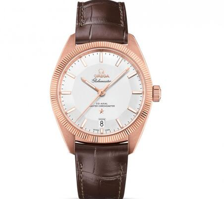 The brown leather strap enhances the charm of Omega Constellation Globemaster.