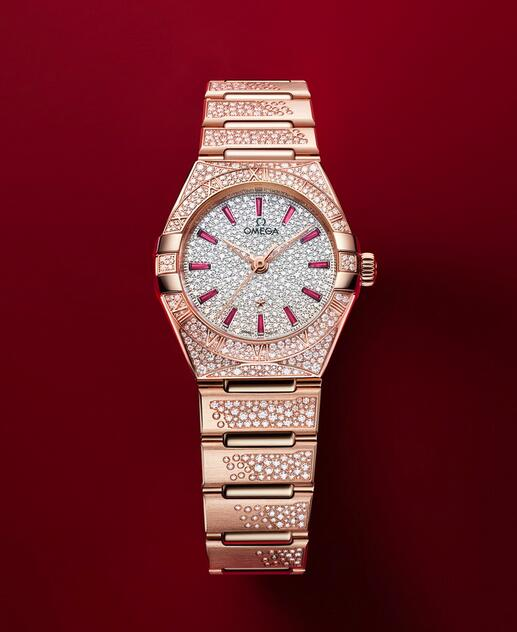 Swiss replica watches have applied the brilliant rubies.