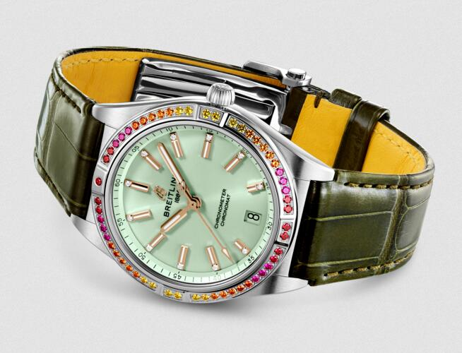 Swiss fake watches bring you energetic feeling with green color.