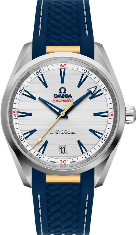 The Omega fake watches look fresh with blue color.